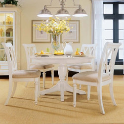"""American Drew - American Drew Camden White Dining Side Chairs - Set of 2 - ADL2185 - Shop for Dining Chairs from Hayneedle.com! Side chair with worn cream finish and upholstered padded seat Time worn cream finish over wood construction 20-inch seat height Comfortable upholstered and padded seat Tastefully casual style What We Like About This Chair The Camden Cream Side Chair offers a traditional look with casual appeal. Its classic white cream finish showcases the beautiful woodwork while the splat back adds a subtle sophistication. About American DrewFounded in 1927 American Drew is a well-established leading manufacturer of medium- to upper-medium-priced bedroom dining room and occasional furniture. American Drew's product collections cover a broad variety of style categories including traditional transitional and contemporary. Their collections range from the legendary 18th-century traditional """"Cherry Grove """" celebrating its 42nd year of success to the extremely popular """"Bob Mackie Home Collection """" influenced by the world-renowned fashion designer Bob Mackie. """"Jessica McClintock Home - The Romance Collection"""" debuted in October 2000 with 50 uniquely designed pieces. American Drew's headquarters are located in Greensboro N.C. Its products are distributed through thousands of independently owned retailers throughout the United States and Canada and around the world."""