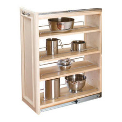 """Rev-A-Shelf - Rev-A-Shelf 432-BF-9C 9"""" Wood Base Cabinet Pullout Filler w/ Adjustable Shelves - This pullout filler makes the best use of wasted space and allows you to transform into a useful cabinet organizer. It features three adjustable maple shelves with attractive chrome rails. The full extension slides allow you to easily slide the filler in and out to quickly access any necessary kitchen item. You are sure to get well crafted storage with the Rev-A-Shelf 432-BF-9C Pullout 9"""" Wood Base Cabinet Filler Organizer. Physical specifications: 9"""" W x 23"""" D x 30"""" H. Note: Fillers can only be installed with new cabinet construction."""
