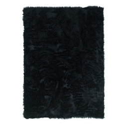 Linon - Plush Faux Sheepskin 3'x5' Rectangle Black Area Rug - The Faux Sheepskin area rug Collection offers an affordable assortment of Plush stylings. Faux Sheepskin features a blend of natural Black color. Hand Tufted of 100% Modified Acrylic Pile the Faux Sheepskin Collection is an intriguing compliment to any decor.