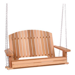 """All Things Cedar - PORCH Swing w/ 50 in seat - Made from Western Red Cedar this Garden Swing ships complete with 24 feet of 3""""/""""16 Heavy Duty Suspension Chain and all the related hardware to have you up and swinging in no time. : DIMENSIONS : 48w x 24d x 35h --- SEAT : 43w x 20d (unassembled kit)"""