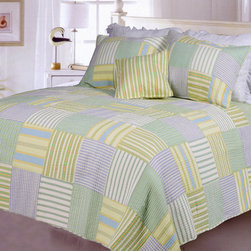 None - Spa Stripes Patchwork Quilt Set - Alternating vertical and horizontal stripes in soft shades of blue, green yellow and white create a patchwork design on this Spa Stripes quilt set. Made of pre-washed and pre-shrunk cotton, this quilt set includes coordinating shams.