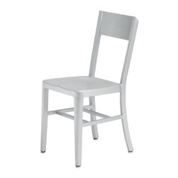 Nuevo - Tribecca Aluminum Dining Chair - Box aluminum frame construction. Welded joints and brushed finish. No assembly required. Seat Depth: 15.5 in.. Seat Height: 15.5 in.. 15 in. W x 19.5 in. D x 33 in. H (8 lbs.)