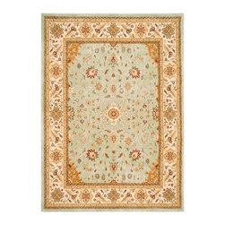 "Safavieh - Traditional Tuscany 5'3""x7'6"" Rectangle Light Blue - Ivory Area Rug - The Tuscany area rug Collection offers an affordable assortment of Traditional stylings. Tuscany features a blend of natural Light Blue - Ivory color. Machine Made of Wool the Tuscany Collection is an intriguing compliment to any decor."