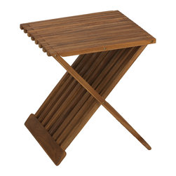 Cortesi Home - Rocco Folding Stool in Solid Teak Wood - Add a bench to any shower or bath with the Rocco folding stool. Ideal for outdoor or indoor use, this versatile stool can also be used as extra seating in your backyard or as a small end table and folds flat for easy storage. Made of responsibly harvested solid teak wood (tectona grandis), it is naturally resistant to mold and mildew.