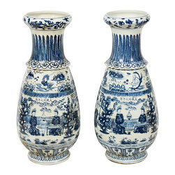 Chinese Vases - Pair of early 20th century Chinese blue & white under-glazed porcelain vases painted in the Chenghua period style bearing the six-character Chenghua mark.