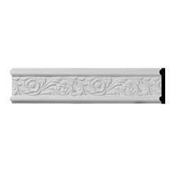 """Ekena Millwork - 3 1/8""""H x 1/2""""P x 94 1/2""""L Emery Floral Chair Rail - Beautiful crown moulding is a great way to separate and define each room. With each design modeled after traditional plaster type mouldings, our lightweight polyurethane mouldings give the same rich detail, yet at a fraction of the cost. Most moulding profiles can be partnered with our do-it-yourself corner blocks that means no miter cutting for you, and most rooms can be completed in ours instead of days. Another benefit of polyurethane is it will not rot or crack, and is impervious to insect manifestations. It comes to you factory primed and ready for your paint, faux finish, gel stain, marbleizing and more."""