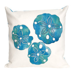 """Trans-Ocean Inc - Sand Dollar Pearl 20"""" Square Indoor Outdoor Pillow - The highly detailed painterly effect is achieved by Liora Mannes patented Lamontage process which combines hand crafted art with cutting edge technology. These pillows are made with 100% polyester microfiber for an extra soft hand, and a 100% Polyester Insert. Liora Manne's pillows are suitable for Indoors or Outdoors, are antimicrobial, have a removable cover with a zipper closure for easy-care, and are handwashable.; Material: 100% Polyester; Primary Color: Blue;  Secondary color: white; Pattern: Sand Dollar; Dimensions: 20 inches length x 20 inches width; Construction: Hand Made; Care Instructions: Hand wash with mild detergent. Air dry flat. Do not use a hard bristle brush."""