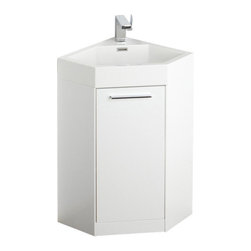 """Fresca - Coda 18"""" White Corner Vanity Cascata Chrome Faucet - The Coda is a corner vanity and perfect as a space saver.  It features an all white appearance that just oozes freshness.  It has a bottom cabinet for storage and a great matching sink.  This vanity comes with everything you need to install.  Many faucet styles to choose from."""