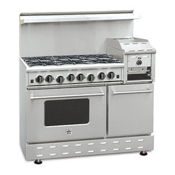"48"" BlueStar RNB Heritage Classic Range - Stainless Steel 48"" RNB Heritage Classic Range has 6 Top Burners with 12"" raised griddle/broiler"