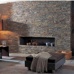 Ledger Panel Stacked Stone Wall and Fireplaces - Gold Rush Ledger Panel Stacked Stone Fireplace New Jersey Outlet