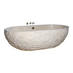 The Allstone Group - TOF-74-BE Crema Marfil Polished Bath Tub - Natural stone strikes a balance between beauty and function. Each design is hand-hewn from 100% natural stone.  Relaxation to many is soaking in a bath.  What could be better than be surrounded by the beauty and feel of natural stone?