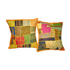 Mogul Interior - Embroidered Sari Patch Cushion Cover Yellow, Set of 2 - Add a splash of ethnic ambiance to any room, with our range of beautifully embellished Decorative Cushion Covers.Wall Hanging tapestry,patchwork toss pillow shams are great as gifts as well.