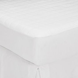 PB Mattress Pad, Twin - Our mattress pad not only protects mattresses from spills, but it makes them more comfortable as well. It's made from 400-thread-count cotton that's combed before weaving for softness. Made of pure cotton. 400-thread count. Polyester fill. Machine wash in commercial-sized front-loading washing machine. Made in America of imported materials.