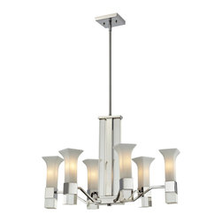 Z-Lite - Z-Lite Lotus Chandelier X-HC-6-116 - With a sleek chrome finish, this six light chandelier uses floral inspired matte opal glass shades to create a cutting edge look. Elegant crystal pillars and crystal block detailing complete this modern look, making this fixture perfect for any contemporary setting. Adjustable rods are included with this fixture to ensure the perfect hanging height.