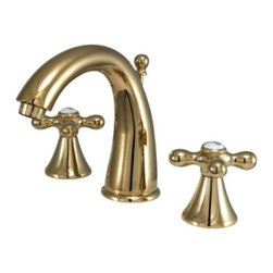 "Kingston Brass - Two Handle 8"" to 16"" Widespread Lavatory Faucet with Brass Pop-up KS2972AX - Two Handle Deck Mount, 3 Hole Sink Application, 8"" to 16"" Widespread, Fabricated from solid brass material for durability and reliability, Premium color finish resists tarnishing and corrosion, 1/4 turn On/Off water control mechanism, 1/2"" IPS male threaded shank inlets, Ceramic disc cartridge, 2.2 GPM (8.3 LPM) Max at 60 PSI, Integrated removable aerator, 5-1/2"" spout reach from faucet body, 6"" overall height.. Manufacturer: Kingston Brass. Model: KS2972AX. UPC: 663370027086. Product Name: Two Handle 8"" to 16"" Widespread Lavatory Faucet with Brass Pop-up. Collection / Series: Naples. Finish: Polished Brass. Theme: Contemporary / Modern. Material: Brass. Type: Faucet. Features: Drip-free ceramic cartridge system"