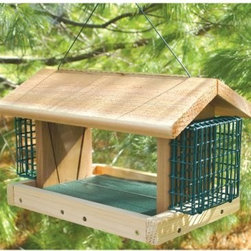 Plantation Bird Feeder with 2 Suet Baskets - Add some excitement to the wildlife environment of your yard with the Plantation with 2 Suet Baskets feeder. It has Plexiglas sides an overhanging roof for weather-proofing and feeding perches. With a latch for security this feeder opens on one side of the roof for easy access and has two suet compartments. Offering suet is sure to increase the bird viewing outside of your living room window since it attracts a large variety of birds such as cardinals woodpeckers and nuthatches. The Plantation with 2 Suet Baskets comes in your choice of sizes and can be post-mounted or hung.Size optionsRegular dimensions: 11.25L x 11W x 9.25H inchesLarge dimensions: 16.25L x 11W x 10H inches