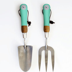 Mint Green Trowel and Fork - Any green thumb will tell you that the trowel and fork are a match made in gardening heaven. Durable stainless steel and pastel-hued handles create a pair that's both attractive and extremely hard-wearing.