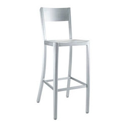 "LexMod - Milan Bar Stool in Silver - Milan Bar Stool in Silver - Cafe-inspired aluminum design with a timeless appeal. Make yourself a space where time stands still. Set Includes: One - Milan Bar Chair For Outdoor Use, 100% Recycled Aluminum, Dipped Anodized Finished, Lightweight and Sturdy Overall Product Dimensions: 21""L x 16.5""W x 42.5""H Seat Height: 30""H - Mid Century Modern Furniture."