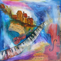 """Flowing"" (Original) By Chris Morningforest - Music Is An Important Part Of My Life.  I Am A Classically Trained Violist And Play Native American Flute.  I Hear Music In The Wind, In Birdsong, In The Silence Of Wild Places.  In This Mixed Media Piece, A Distant Village Rests On A Hill.  A Piano Keyboard Creates The Path Between Two Violins.  Sheet Music Is Also Incorporated Into The Painting Which Combines Elements Of Light And Form.   Watercolor Crayons, Ink, Acrylic, Collage, And Oil Paint Bring Life To This Scene, Enhancing The Imagination.  This Piece Continues The Image On The Sides Of The Canvas.  It Is Wired To Hang As Is Or Choose A 12X12"" Frame To Add To Its Appeal."