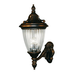 "Z-Lite - Z-Lite 504B 3 Light Up Lighting 24"" Height Outdoor Wall Light with Glass Oval Sh - Z-Lite 504B 3 Light Up Lighting 24"" Height Outdoor Wall Light with Glass Oval Shade from the Waterloo CollectionThe Waterloo family is a study in timeless elegance. The intricate details incorporate feather, fanning and filigree motifs throughout the entire fixture, including the mounting plate. The ribbed, semi clear glass casts a bright spill of light while the frosted glass casts a soft glow of light. These fixtures are comprised of cast aluminum which withstands nature's seasonal elements and are available in black, black gold or black silver finishes.Features:"