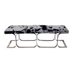 Global Views - Airline Bench- Holstein - The base of this popular bench is polished stainless steel that has been updated with Holstein cowhide upholstery. No two hides will be alike.