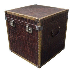 Used Crocodile Trunk - Store it all in style with this large vintage crocodile stamped leather trunk. Adorned with brass details, this is a great piece of accent decor.