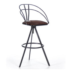 Kathy Kuo Home - Blackthorne Industrial Loft Adjustable Height Leather Bar Stool - The comfort of this classic bar stool is surpassed only by its style. Elegant and modern, the polished black iron base, low back and footrest have sleek lines and understated shapes. Rich, dark leather covers the adjustable-height seat of this stool, ideal for your game room or kitchen.