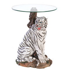 Koolekoo - White Tiger Accent Table - A rare white tiger is captured in all his beauty and might, forming a stunning sculptural base for a furnishing of singular distinction. Each detail of this stately statue is lovingly rendered for absolute lifelikeness.