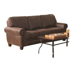 "Coaster - Sofa (Brown) By Coaster - Exuding a rustic personality, the Bentley sofa will fit well in any traditional styled living room. Features durable pocket coil seating wrapped in a plush coated brown microfiber. Matching pieces available separately. Dims: 83"" X 34"" X 37""."