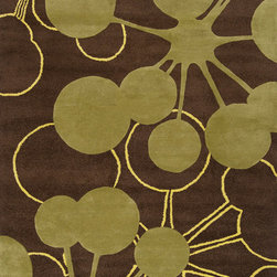 jefdesigns - Organic Modern Rug — Bubble In Brown, 2x3 - On the bubble. This rug's modern design is like artwork for your floor. It has a contemporary palette that plays nicely with your furnishings, too. It's handtufted of pure wool with twisted details for plenty of visual interest.