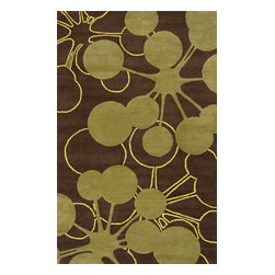 jefdesigns - Organic Modern Rug - Bubble In Brown, 2'x3' - On the bubble. This rug's modern design is like artwork for your floor. It has a contemporary palette that plays nicely with your furnishings, too. It's handtufted of pure wool with twisted details for plenty of visual interest.