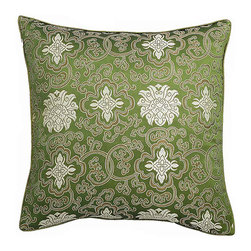 None - Handmade Chinese Lotus Green Cushion Cover - Embellish your home decor with a traditional Far East cushion cover Exotic decorative pillow cover features embroidered Oriental lotus flower designThrow pillow cover boasts luxurious and silky polyester composition
