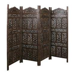 Tula 4-Panel Screen - Divide a room or create a new and exciting backdrop to your current room with this gorgeous, intricately carved screen. Made of mango wood, it's a beautiful and durable choice perfect for small spaces as well as large ones.