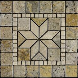 "Scabos Travertine Tumbled Mosaic Medallion 12""X12"" - Scabos Travertine Tumbled Mosaic Medallion 12""X12"""