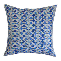 """The Pillow Collection - Upavon Geometric Pillow Blueberry 20"""" x 20"""" - Transform your home into a haven by adding this striking throw pillow. The beautiful geometric pattern on this decor pillow lends a chic twist to your interiors. With bold hues of blue and turquoise, this accent pillow makes a great statement piece for your living room, bedroom or lounge. Incorporate other patterns like zigzags, stripes and plaid for a blend of visual elements. Made from 100% plush and soft cotton material. Hidden zipper closure for easy cover removal.  Knife edge finish on all four sides.  Reversible pillow with the same fabric on the back side.  Spot cleaning suggested."""