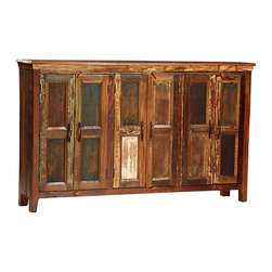 Nantucket Wood Panel Sideboard, Medium Brown - Full of character and appeal, the Nantucket Wood Panel Sideboard is the perfect choice for the dining room. It is hand-built from reclaimed hardwoods and finished in a sealed medium brown with highly distressed accents, giving the impression of a treasured antique passed down from generation to generation. Three sets of paneled doors are finished with antiqued hardware and each opens to reveal a single shelf, ideal for keeping all your linens and serving accessories close at hand.