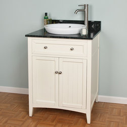 """24"""" Halifax Vanity for Semi-Recessed Sink - Perfect for both contemporary and traditional homes, this 24"""" Halifax Vanity has a warm, Creamy White finish with Brushed Nickel Hardware. Featuring a semi-recessed sink option, this refined cabinet has two doors and an adjustable interior shelf."""