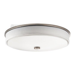 Kichler Lighting - Kichler Lighting Santiago Energy Efficient Contemporary Flush Mount Ceiling ... - Contemporary to the core, this energy efficient Kichler Lighting flush mount ceiling light from the Santiago Collection features a clean white linen fabric trim ring against a matte white acrylic diffuser with a coordinating crisp Brushed Nickel finish.
