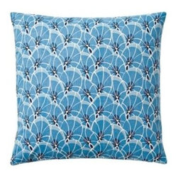 Serena & Lily - Palm Leaf Pillow Cover Harbor Blue - With a botanical print as our starting point, we exaggerated some elements to come up with a pattern that's funky and fun. A palette of strong tonal blues and white gives it the color pops we crave.