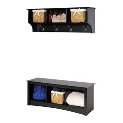 Prepac - Prepac Sonoma Black 2-Piece Entryway Set - This intelligent & practical storage design is well suited for any front hallway, mudroom or home office. The three storage compartments are ideal for hats, gloves and schoolbooks while four large hooks hold coats & jackets. Comes with our easy to install, two-piece hanging rail system and is an ideal companion piece for the cubbie bench. Constructed from a combination of high quality, laminated composite woods with an attractively profiled MDF top. This practical storage design is well suited for any front hallway or mudroom, or at the foot of a bed as the perfect companion to platform storage beds and headboards. Under the bench, storage compartments are ideal for storing blankets, shoes, baskets and books. Constructed from a combination of high quality, laminated, composite woods with attractive profiled MDF top and moldings. Available in black, espresso, maple or white finish.