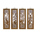 China Furniture and Arts - Cedarwood Window Panels - It was once used in the traditional village houses in Zhe Jiang Province, China. Painstakingly hand carved cedar wood panels will serve as a centerpiece in any room. These four panels are a one of a kind set. Brass hangers are included.