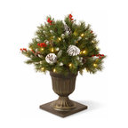 26 In. Frosted Berry Porch Christmas Bush w/ Cones & 50 Clear Lights - Measures 26 inches tall with 22 inch diameter. Indoor or covered outdoor use. Trimmed with red berries and pine cones. Pre-lit with 50 UL listed, pre-strung Clear lights. Decorative urn base. Tip count: 175. Light string features BULB-LOCK to keep bulbs from falling out. If one bulb burns out the others remain lit. Fire-resistant and non-allergenic. Packed in reusable storage carton.