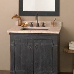 "Native Trails 30"" Americana Vanity in Anvil - Character is a thing of the past. Handcrafted by American artisans from reclaimed wood, each Americana Vanity has a character as rich as its history. Its beautifully textured wood, rescued from structures of the past: old barns, homesteads, and fencing, has stood the test of time. These strong heirloom pieces lend soulful presence and are complemented with hand-forged iron hardware. Available in 24"", 30"" and 36"", each in Chestnut, Whitewash, Anvil, and Driftwood finishes. Pair with any of our stone or copper vanity tops."