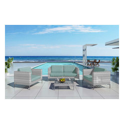 Ibis 4-Piece Modern Outdoor Sofa Set, Spa Cushions