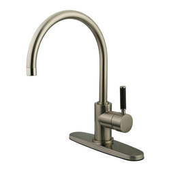 """Kingston Brass - Single Lever Handle Kitchen Faucet with 8"""" Deck Plate - This single handle goosenck faucet can be installed in a one-hole or three-hole configuration, its 8-1/2"""" tubular spout coupled with the black neoprene accent on the handle gives this faucet a sleek European look; The 8-3/8"""" clearance on the swivel spout gives you the room necessary to tackle any kitchen chore.; Sprayer Not Included; Lifetime Ceramic Cartridge; Contemporary Single Lever w/Neoprene Insert; 8 1/2"""" Spout Projection; 1 or 3 Hole Installation with an 8-3/8"""" spout clearance; Material: Brass; Finish: Satin Nickel; Collection: Kaiser"""