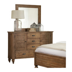 Riverside Furniture - Riverside Furniture Summerhill Door Dresser and Mirror Set in Canby Rustic Pine - Riverside Furniture - Dressers - 9166291663Set - Riverside's products are designed and constructed for use in the home and are generally not intended for rental commercial institutional or other applications not considered to be household usage. It's the cabinetmaker's choice for making drawer joints that won't pull apart over the years. Riverside craftsmen dovetail joints both in the front and the back of the drawer. We spend a little more time here so that drawers will hold 'stuff' for years to come.You'll appreciate the multiple-step application of Riverside's furniture finishes. Their finishing processes involve several steps of hand sanding applications of several types of finishing coats padding and polishing.
