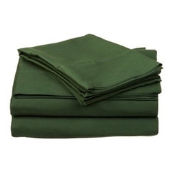 """400 Thread Count Egyptian Cotton Twin XL Hunter Green Solid Sheet Set - Nothing refreshes a mind and body more than a good night sleep. Experience true 100% Egyptian Cotton luxury when you sleep on these 400 Thread Count sheets. An affordable luxury that drapes beautifully on the bed. These 400 thread count sheets of premium long-staple cotton are """"sateen"""" because they are woven to display a lustrous sheen that resembles satin. Our 400 Thread Count sheets are available in 11 Colors."""
