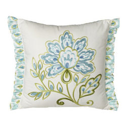"Dena Home - Dena Home Pillow w/ Embroidered Flower & Ruffle Sides, 16""Sq. - Perky patterns in blues and greens make this cotton bed linens ensemble an irresistible choice. Quilts and shams have cotton batting. Dust skirts have a 15"" drop. Pillows have a polyester fill. Spot clean pillows; machine wash linens. Imported. ...."