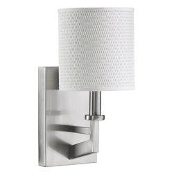 Quorum Lighting - Quorum Lighting Channing Transitional Wall Sconce X-56-1-2645 - From the Channing Collection, this Quorum Lighting wall sconce features contemporary design with hints of modernism and subtle island flavor. The clean lines and crisp angles of the body are finished in a Satin Nickel hue that compliments the textured but clean coordinating look of the white grass cylindrical shade.