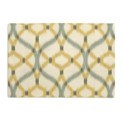Aqua & Yellow Ikat Trellis Custom Placemat Set - Is your table looking sad and lonely? Give it a boost with at set of Simple Placemats. Customizable in hundreds of fabrics, you're sure to find the perfect set for daily dining or that fancy shindig. We love it in this classic trellis meets updated ikat in interlocking hues of soft aqua & yellow on ivory textured cotton.